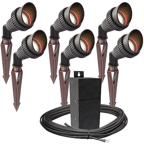 Outdoor Pro LED Landscape Lighting 6 Spot Light Kit EMCOD
