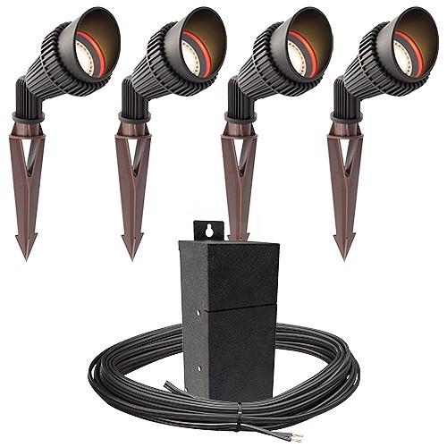 Outdoor Lamp Wiring Kit: Outdoor Pro LED Landscape Lighting 4 Spot Light Kit EMCOD