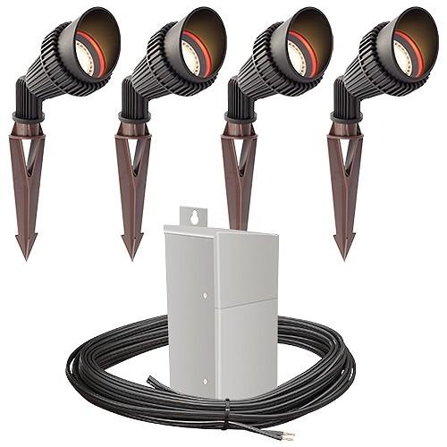 Outdoor Pro Led Landscape Lighting 4 Spot Light Kit Emcod 100watt Power Pack Photocell Mechanical Timer 80 Foot Cable