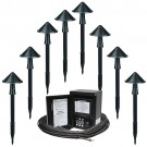 LED outdoor eight Maximus RS168C-M150-BK-1 path light kit, 45watt power pack photocell, digital timer, 160-foot cable