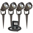 Outdoor LED landscape lighting kit, four spot lights, 45watt power pack photocell, digital timer, 80-foot cable