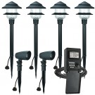 Duracell LED outdoor landscape lighting CB35-6 2 spot 4 path light kit, 45watt power pack photocell, digital time, 75-foot cable