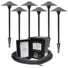 Outdoor LED landscape lighting path kit, 6 path lights, Malibu 45watt power pack photocell, digital timer, 80-foot cable