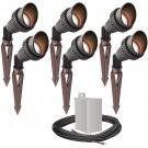 Outdoor LED landscape lighting spot kit, 6 spot lights, 40watt power pack photocell, timer, 80-foot cable