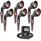 Outdoor LED landscape lighting spot kit, 6 spot lights, 45watt power pack photocell, digital timer, 80-foot cable