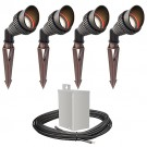 Outdoor LED landscape lighting spot kit, 4 spot lights, 40watt power pack photocell, timer, 80-foot cable