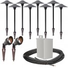 Outdoor LED landscape lighting spot path kit, 2 spot lights, 8 path lights, 40watt power pack photocell, timer, 160-foot cable