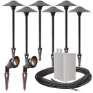Outdoor LED landscape lighting spot path kit, 2 spot lights, 6 path lights, 40watt power pack photocell, timer, 80-foot cable