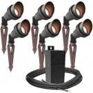 Outdoor Pro LED landscape lighting 6 spot light kit EMCOD 100watt power pack photocell, mechanical timer, 80-foot cable