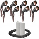 Outdoor Pro LED landscape lighting 8 spot light kit EMCOD 100watt power pack photocell, mechanical timer, 160-foot cable