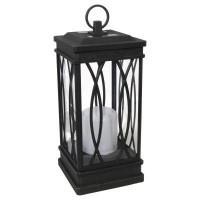 Malibu 8519-3511-01 LED solar black decorative lantern light in wrought iron finish