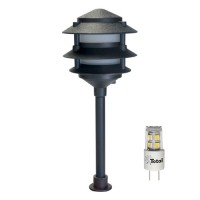 Outdoor LED landscape lighting black 3-tier pagoda path light warm white low voltage