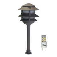 Outdoor LED landscape lighting bronze 3-tier pagoda path light warm white low voltage