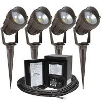 LED outdoor landscape lighting kit, four spot lights, Malibu 45watt power pack photocell, digital timer, 80-foot cable