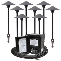 Outdoor LED landscape lighting path kit, 8 path lights, 45watt power pack photocell, digital timer, 80-foot cable