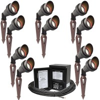 Outdoor LED landscape lighting spot kit, 10 spot lights, 45watt power pack photocell, digital timer, 160-foot cable