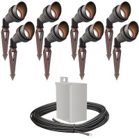 Outdoor LED landscape lighting spot kit, 8 spot lights, 40watt power pack photocell, timer, 80-foot cable