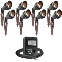 Outdoor LED landscape lighting spot kit, 8 spot lights, 45watt power pack photocell, digital timer, 80-foot cable