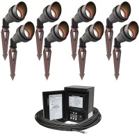 Outdoor LED landscape lighting spot kit, 8 spot lights, 45watt power pack photocell, digital timer, 80-foot cable