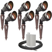 Outdoor LED landscape lighting spot kit, 6 spot lights, 40watt power pack photocell, timer, 80-foot cable