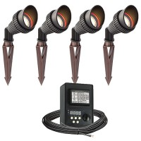 Outdoor LED landscape lighting spot kit, 4 spot lights, 45watt power pack photocell, digital timer, 80-foot cable