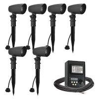 Outdoor LED landscape lighting spot kit, 6 spot lights, Maximus 45watt power pack photocell, digital timer, 80-foot cable