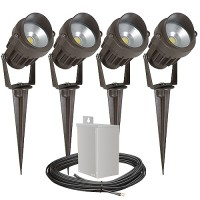 Pro Outdoor LED landscape lighting kit, four spot lights, 40watt power pack photocell, digital timer, 80-foot cable