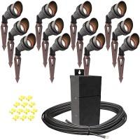 Outdoor Pro LED landscape lighting 12 spot light kit EMCOD 100watt power pack photocell, mechanical timer, 160-foot cable