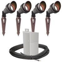 Outdoor Pro LED landscape lighting 4 spot light kit EMCOD 100watt power pack photocell, mechanical timer, 80-foot cable