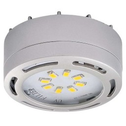 LED satin nickel puck light 4watt 120volt recessed or surface mount under cabinet lighting dimmable linkable warm white