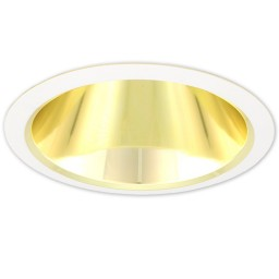 "6"" Recessed lighting air tight gold specular reflector white trim"