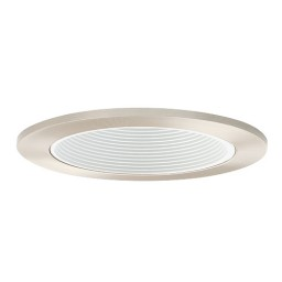 "4"" Low voltage recessed lighting white baffle satin trim"