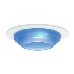 "4"" Low voltage recessed lighting blue metropolitan step glass white trim"
