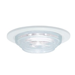 "6"" Low voltage recessed metropolitan stepped clear glass white trim"