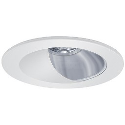 """4"""" Low voltage recessed lighting adjustable lensed chrome reflector white wall wash trim"""