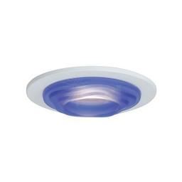 "4"" Low voltage recessed lighting blue glass designer step lite white trim"