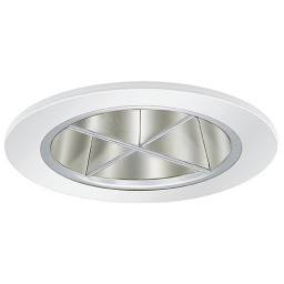 "4"" Low voltage recessed lighting chrome reflector white crossblade trim"