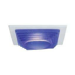"4"" Low voltage recessed lighting designer blue step glass white square trim"