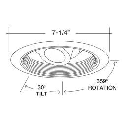 "6"" low voltage recessed MR16 satin regressed eyeball satin baffle satin trim"