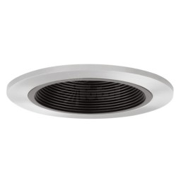 "4"" Recessed lighting black baffle chrome trim"