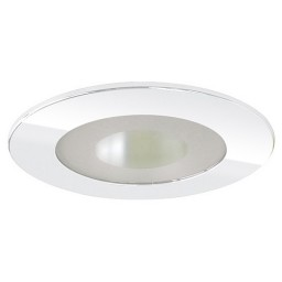 """4"""" Recessed lighting semi-frosted glass lens clear chrome reflector chome shower trim"""