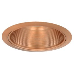 "6"" Recessed lighting Par 30 R 30 copper metal stepped baffle copper trim"