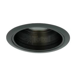 "6"" Recessed lighting Par 30 R 30 black all metal stepped baffle black trim"