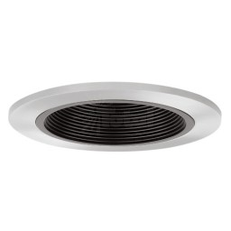 "6"" Recessed lighting Par 30 R 30 black metal stepped baffle chrome trim special order no returns"