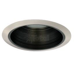 """6"""" Recessed lighting Par 30 R 30 black metal stepped baffle satin trim kitchen light"""