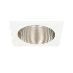 "4"" Recessed lighting satin phenolic metal stepped baffle white square trim"
