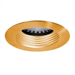 LED under cabinet recessed gold baffle polished brass trim