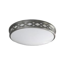 """LED 10"""" diamond lattice satin nickel round ceiling surface light flush mount natural white 3000K dimmable LED-JR001DNKL"""