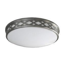"LED 14"" diamond lattice satin nickel round ceiling surface light flush mount warm white 3000K dimmable LED-JR002DNKL"