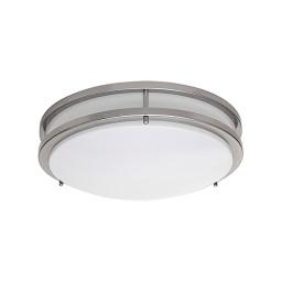 """LED 14"""" two ring satin nickel ceiling surface light flush mount warm white 3000K dimmable LED-JR002NKL"""
